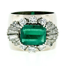 Vintage F. Moroni 18k Gold 4.12ctw GIA Emerald Diamond Wide Cocktail Band Ring