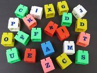 Vintage Lot of Plastic ABC Alphabet Picture Building Toy Blocks Beautiful Cond b