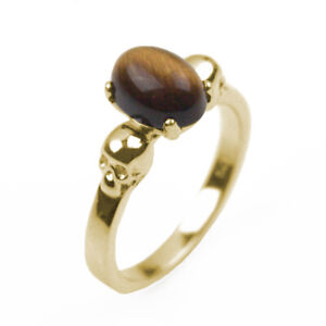 9ct Gold Skull Ring Tiger's Eye Oval Cut Cabochon Hand Crafted Hallmarked
