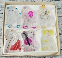 CRYSTALITE PETS Set Of 6 Decorative Vintage 1976 Christmas ORNAMENTALS w/ Box