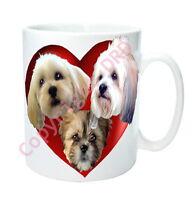 Lhasa Apso Gift, Dog Mug with 2 Hearts & 3 Lhasas Birthday Gift Mothers Day Gift