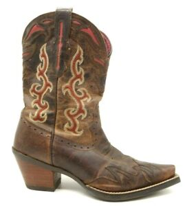 Ariat Brown Leather Red Inlay Block Heel Cowboy Western Boots Women's 6.5 B