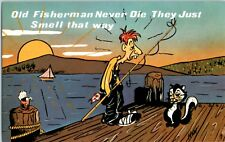 10 lot Old Fisherman Never Die They Just Smell That Way Funny VTG Postcard Skunk