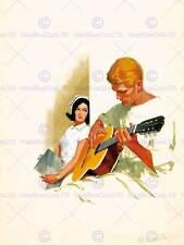 BOOK COVER PITTURA Hootenanny INFERMIERA PASTA FICTION Romance Chitarra USA Stampa cc323