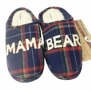Dearfoams Mama Bear Plaid Slippers XL 11-12 Comfort Memory Foam Cushioned NEW