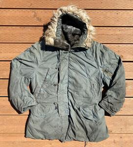 Vintage Men's USA Military Parka Jacket Fur Hood Size L Green N-3B Snorkel Rare