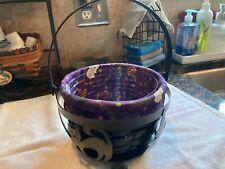 Longaberger Fall Halloween Black Cauldron Basket, liner, protector, used.
