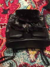 Co Lab Co-Lab Colab Montreal Black Vegan Faux Fur Backpack NWT