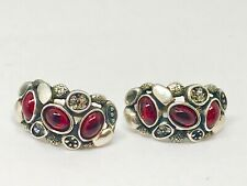Russian Silver, Garnet Cabochons & White Topaz Earrings-  Signed Crown Logo