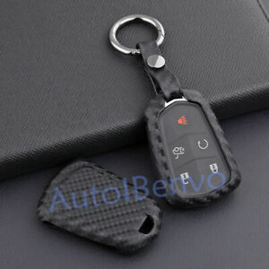 Carbon Fiber Textured Key Case Holder For Cadillac ATS CTS XTS XT5 Accessories