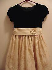 Girls Cinderella size 5 Black/Gold Maxi short sleeved Dress