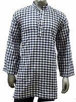 Indian Tunic Men 100% Cotton Regular Kurta Check Shirt Plus Size 4xl 5xl 6xl 7xl