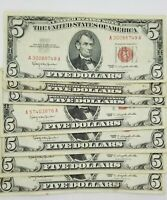 1953/1963 Five Dollar RED Seal Note Silver Certificate Old US Bill $5