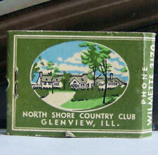 Rare Vintage Matchbook D3 Glenview Illinois North Shore Country Club Golf Trees