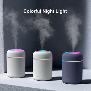 300ml USB LED Air Humidifier Quiet Mist Purifier Aroma Oil Diffuser For Home Car