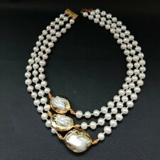 3 Strands 18''-21'' White Pearl 24 K Gold Plated Keshi Pearl Necklace