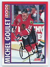 HOF Michel Goulet signed 1991-92 Score 1,000 points Blackhawks autograph #265