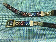 Vtg Womens Black Faux Suede Belt With Bright Embroidery & Gold Chains S