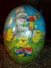 """NEW GERMAN PAPER MACHE FILLABLE NESTING EASTER EGG LARGE 7"""" BUNNY & BABY CHICKS"""