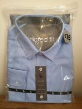 Tu Tailored Fit Mens Blue Shirt, Pure Cotton, Non Iron Long Sleeve, Business