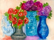 ACEO MINIATURE Original Watercolor Artist Card by Eileen Table Flowers Vase Trio