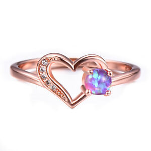 Love Heart Pink Fire Opal Gemstone Rose Gold Plated Silver Round Ring Size 7-10