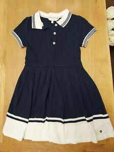 Jasper Conran Girls navy & white dress age 6-7