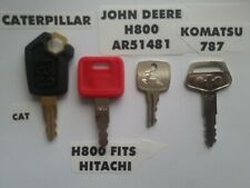 4 Heavy Equipment Ignition Keys Set CAT John Deere H800 , AR51481 Komatsu 787