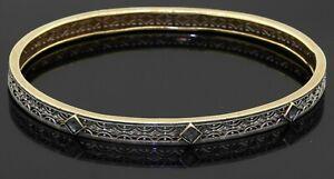 Antique 14K 2-tone gold 0.60CT Blue sapphire filigree bangle bracelet
