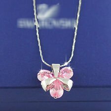 18k white Gold GF clover pink crystals pendant necklace