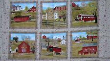 Fabric Elizabeth Studio Headin' Home Panel~Covered Bridges~Barnes~Churches