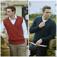 KNITTING PATTERN Mens Easy Knit Sleeveless & LongSleeve Jumper DK King Cole 4272