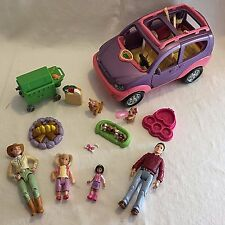 Loving Family 4 Figures Fisher Price Musical Mini Van SUV Car Grill Camp Fire +