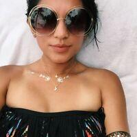 Oversized XL CARLINA Double Metal HALO Round BOHO Women Retro Large Sunglasses L