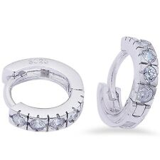 5 ROUND CZ STONE 11.5MM HOOP .925 Sterling Silver Earring