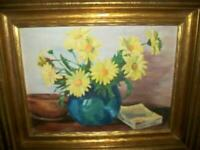 DAISIES FLORAL OIL PAINTING STILL LIFE CHUNKY GILT WOOD FRAME VINTAGE 1930's