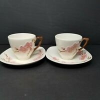 Vintage 50s Metlox Poppytrail Pink Peach Blossom Cup & Saucer - Set of 2