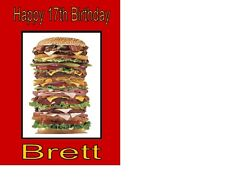 Burger Birthday Card A5 Personalised