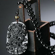 Natural Obsidian Fashion Dragon Pendant Necklace Men Lucky Jewelry QW