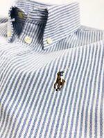 Ralph Lauren Harper Shirt Women's Oxford Blue Stripe Custom Fit Long Sleeve