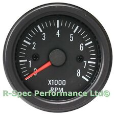 52mm Black Face / Clear Lens Rev Counter Tachometer Tacho RPM Gauge Kit