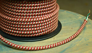 20' Cloth Covered Round Electrical Cord - Vintage Fabric Braid Lamp Pendant Wire