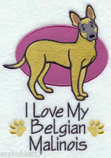 BELGIAN MALINOIS I LOVE MY SET OF 2 BATH HAND TOWELS EMBROIDERED by laura