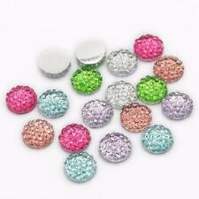 100PCS 10MM RANDOM MIXED MINERAL SURFACE FLATBACK ROUND RESIN DIY CRAFT BUTTONS