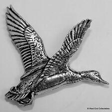 Rising Duck Mallard Pewter Pin Brooch -British Artisan Signed Badge-Shotgun Hunt