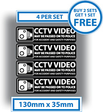 4 X CCTV Stickers In Car Video Warning Decals Shop Office Hotel Black 130x35mm
