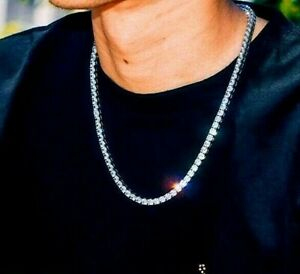 "30CT Men's Round Diamond Tennis Necklace 20"" Length 14K White Gold Finish"