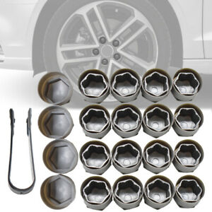 20pcs 25mm Grey Wheel Nut Bolt Dust Cover Caps Set Round For Audi A4 A5 A6 Gray