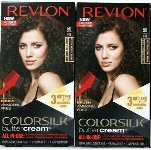 (2) Revlon 50 / 41N Medium Natural Brown Vivid Hair Color Colorsilk Buttercream