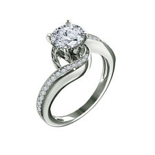 White Gold Finish Bypass Engagement Ring 1.00 Carat Round Brilliant Cut 14k